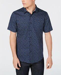 American-Rag-Men-039-s-Floral-Shirt-Medium-Blue