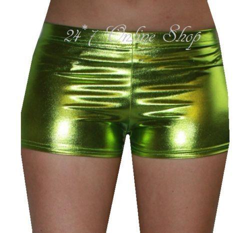 Kid/'s// Children/'s Metallic Wetlook PVC Grease Hotpants Shorts Fancy Dress Dance