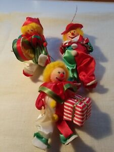 Christmas-Clown-Vintage-Ornaments-Lot-Of-3-Holiday