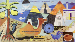 Spain-2019-MNH-Cesar-Manrique-1v-M-S-Art-Paintings-Stamps