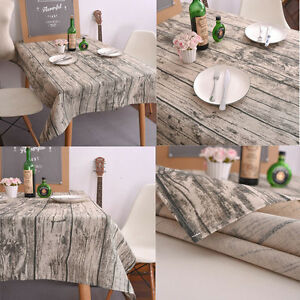 US Stock Comfy Cotton Linen Tablecloth Printing Table Cover Tea Cloth Home Decor