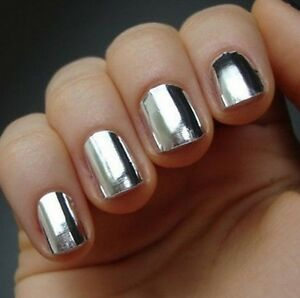 16 Pcs Smooth Silver Lightning Minx Style Nail Art Patch Decals ...
