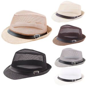 Fashion-Unisex-Summer-Casual-Trilby-Gangster-Cap-Beach-Sun-Straw-Hat-Band-Sunhat