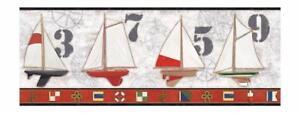 Wallpaper-Border-Nautical-Sailing-Boats-Flags-Rope-Knots-Red-Cream-Black-Trim