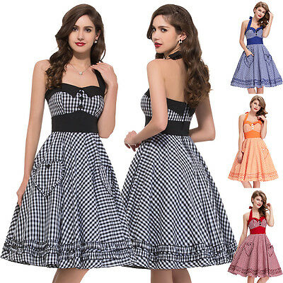 Vintage Polka Dots Halter Pinup Dress 40's 50's Swing Rock Swing Evening Dress
