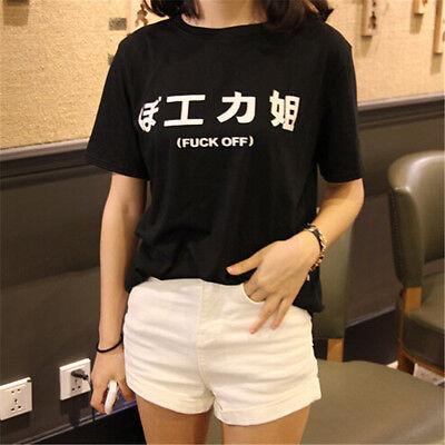 Harajuku Women Summer T-shirt 工力姐 Letter Print Short T-shirt Casual Top Tee