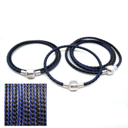Black /& Blue Leather Bracelet Single Double Triple Wrap 925 Silver Clip