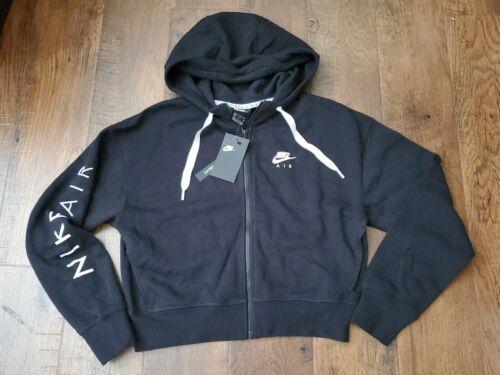 Nike Air Women/'s Full-Zip Fleece Cropped Hoodie M Black Full Zip Sweatshirt
