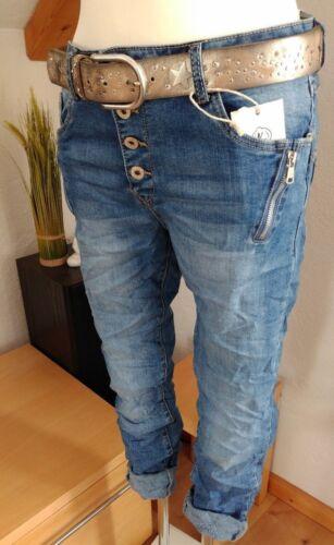 2018 38-48 Karostar Chino Boyfriend Italy Style Jeans Hose Big Size Blau Koll