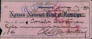 1888 New York New York (NY) Nassau National Bank of Brooklyn Check Cornelia Cust