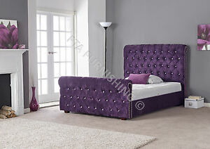 fabric tra neau bed diamant t te de lit haut pied velours ecras ebay. Black Bedroom Furniture Sets. Home Design Ideas