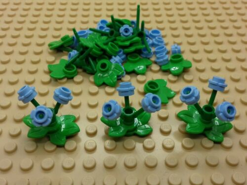 FRIENDS 10 x LIGHT BLUE BUNCHES OF FLOWERS WITH STEMS /& LEAVES NEW LEGO