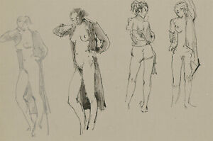 Peter Collins ARCA - c.1970s Pen and Ink Drawing, Female Nude Studies