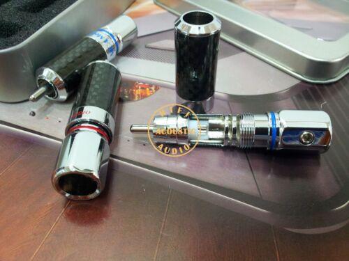 4Pc HIFI Audio Copper Rhodium Plated Carbon Fiber RCA Connector Plug Phono
