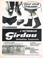 PUBLICITE ADVERTISING 035  1964  GIRDOU   pantoufles chaussures  bottes