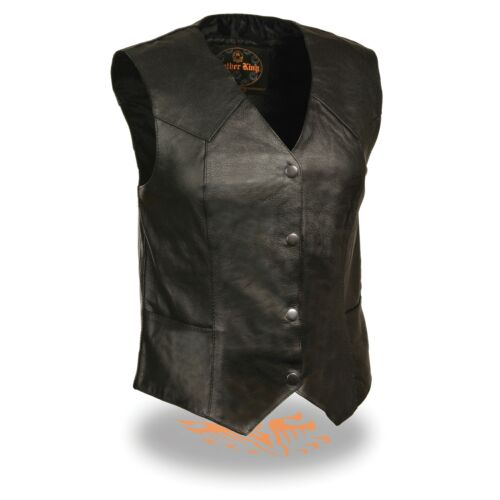SAFR MILWAUKEE LEATHER WOMENS PREMIUM MILLED COWHIDE 1.2-1.3mm LEATHER VEST