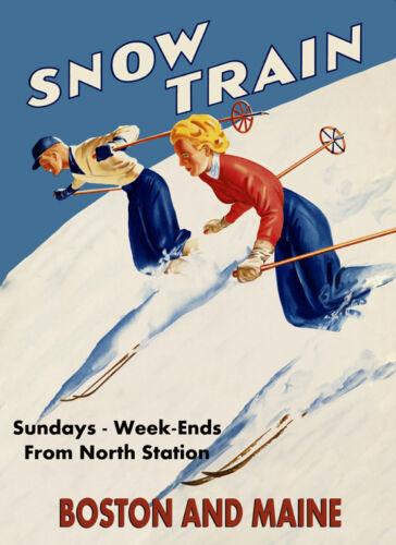 Ski Skiing Sport Boston Maine Couple Winter Vintage Poster Repro FREE S//H