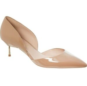 NUDE PATENT POINT SLINGBACK METAL STILETTO HEEL COURT SHOES SIZE 5//38