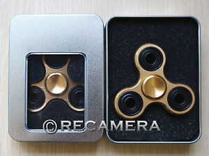 Tri-Spinner Fidget Toy Metal EDC Hand Finger Spinner For Kids and Adults Gold