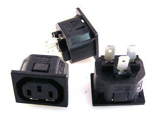 Bulgin-P695-Empuje-Ajuste-2mm-Montaje-en-Panel-IEC-Enchufe-10A-250V-B2-3-Piezas