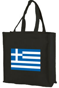 Greek Flag Cotton Shopping Bag Knitterfestigkeit Choice Of Colours: Black Cream