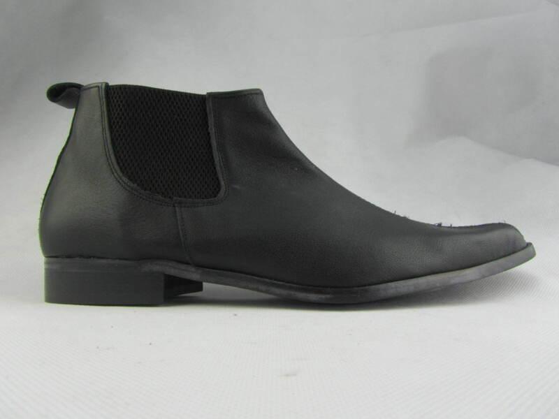 Retro Mens Lennon Low Black Real Leather Chelsea Beat Boots Flat Heel Beatle
