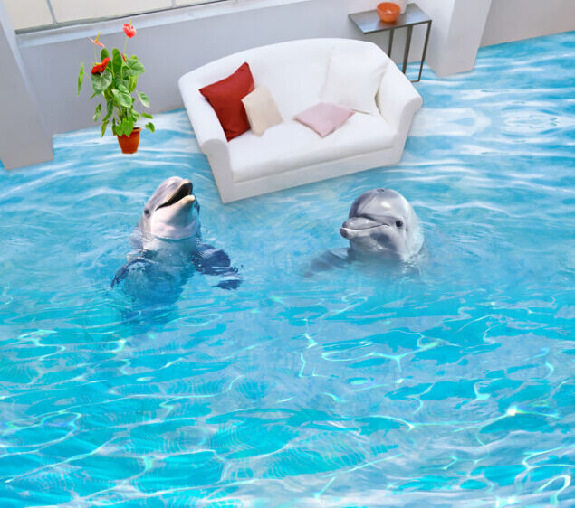 3D Clear Pond Dolphin Floor WallPaper Murals Wall Print Decal 5D AJ WALLPAPER