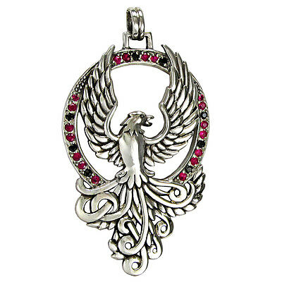 Solid Sterling Silver Phoenix Pendant with Crystals Alchemy Bird Eagle Jewelry