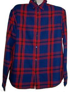 H&M Men's  Blue Red Plaid Cotton Shirt Size XL NEW
