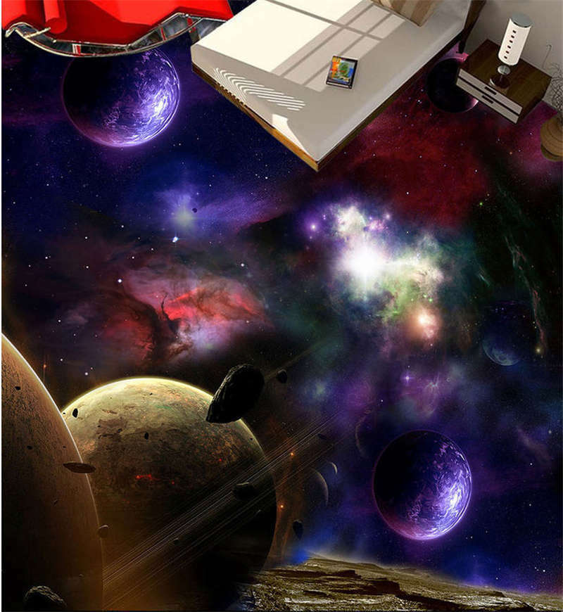 Dreamy Outer Space 3D Floor Mural Photo Flooring Wallpaper Home Print Decoration