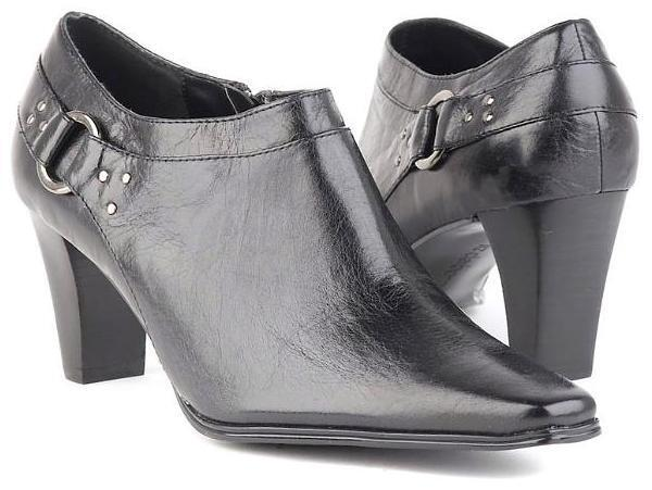 New LIZ CLAIBORNE Women Leather Side Zip Heel Pointy Toe Ankle Boot Bootie shoes