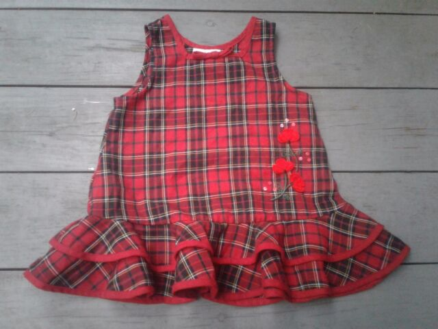 rare editions girls 2t red blk plaid christmas holiday jumper dress floral appl - Plaid Christmas Dress