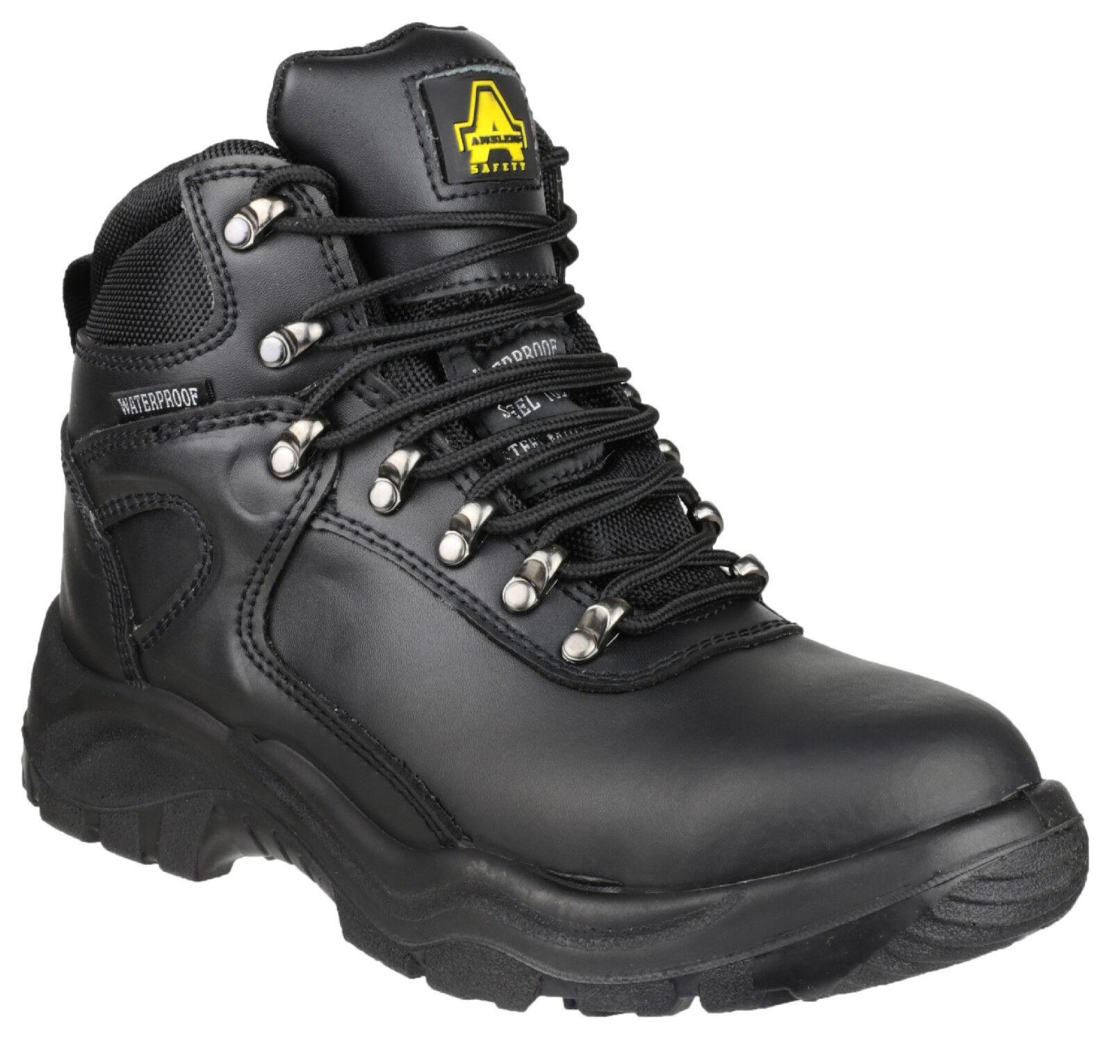 Hombre Waterproof Toe Safety Work botas / Negro Leather Steel Toe Waterproof Cap Laced Amblers 37ac89