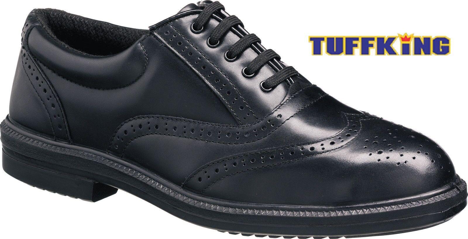 Tuffking 9076 S1P Negro Puntera De Acero Oxford Zapatos Trabajo Seguridad Oxford Acero Brogue Executive 1a26c9