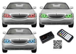 Led Headlight Halo Ring Bluetooth Multi Color Rgb Kit For Lincoln
