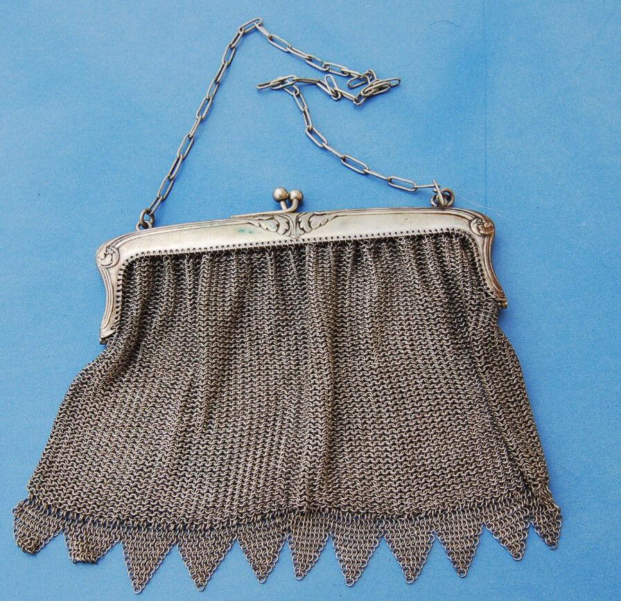 Antiguo Bolso de baile capellán metal plateado - Plata A4