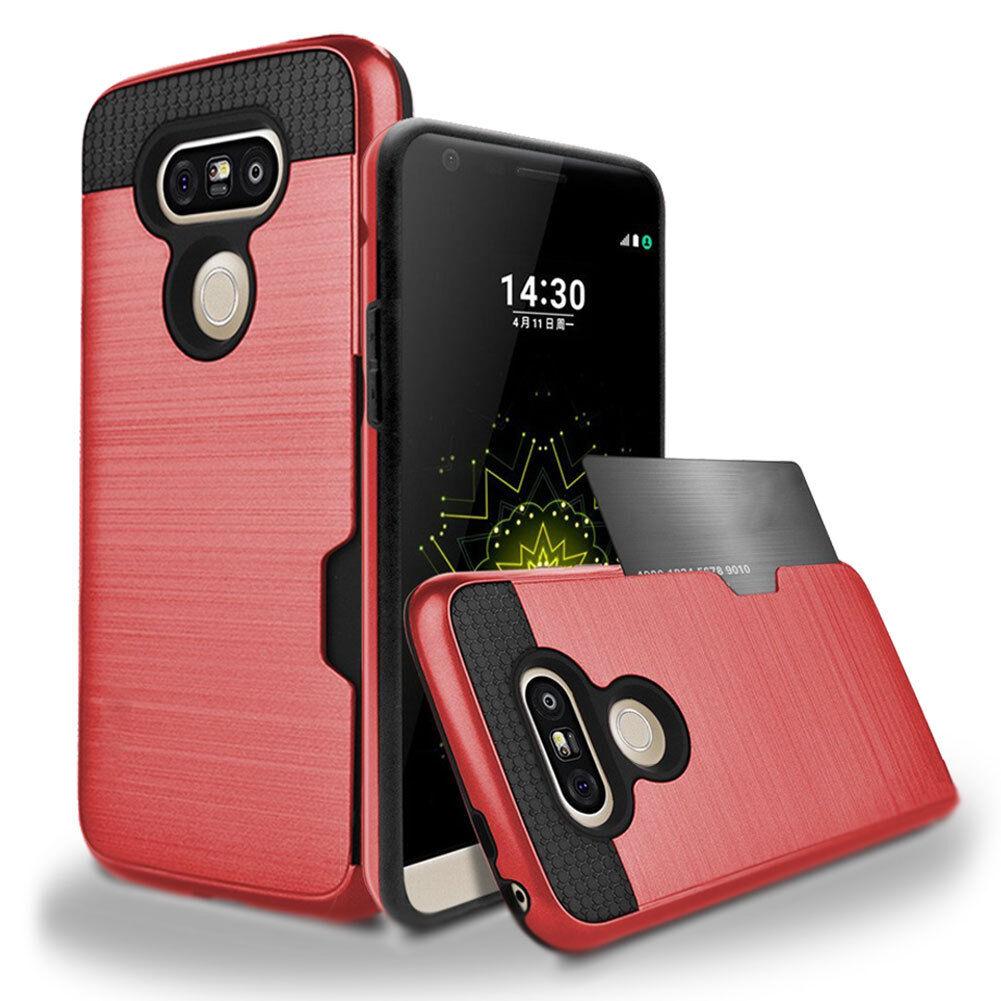 quality design 02734 89be7 Hybrid Rubber Shockproof Card Wallet Hard Case Cover For LG G5 G6 V10 V20  V30