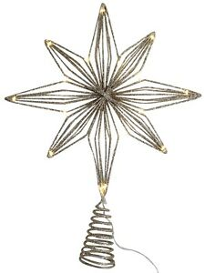 Extra-Large-Christmas-LED-Tree-Topper-Star-Decoration-Gold-Glitter-35cm-Tall