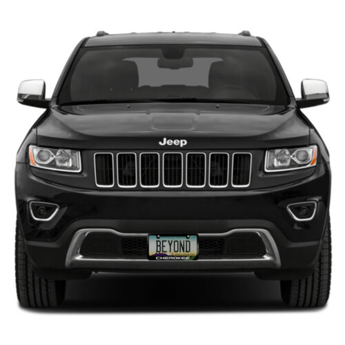Jeep Cherokee Green Stripe Black Metal License Plate Frame