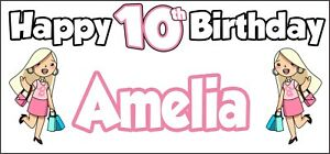 Glamour-Girl-10th-Birthday-Banner-x2-Party-Decorations-Personalised-ANY-NAME