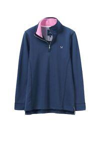 New-Crew-Clothing-Womens-Half-Zip-Solid-Sweatshirt-in-Blue