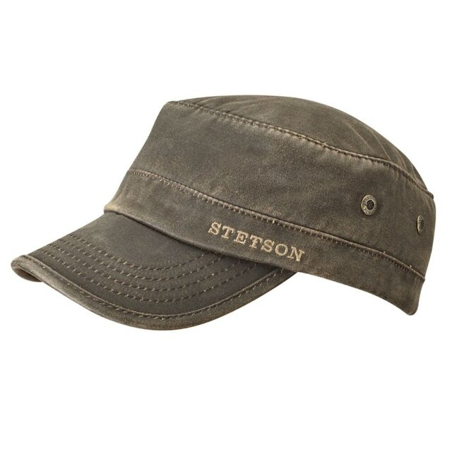 STETSON ARMY ARMEE CAP KÄPPI DATTO 6 BRAUN SUN GUARD ® BESCHICHTETE BAUMWOLLE