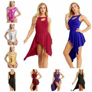 UK-Adult-Women-Ballet-Dance-Leotard-High-Low-Dress-Gymnastics-Dancewear-Costumes