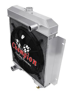 "1955 1956 Chevrolet Bel Air 3 Row Aluminum Champion SR Radiator w// 16/"" Fan"