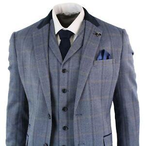 Costume homme tweed à carreaux Prince de Galles 3 pièces bleu marine ... 55bf1add998