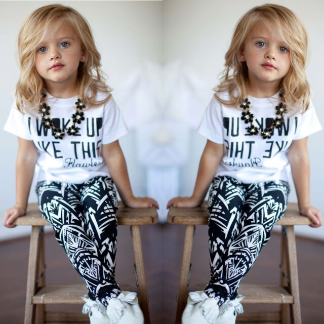 Baby Girls Stripe I Woke Up Like This Toddler T-Shirt+Pants Outfits Set 2-9Y