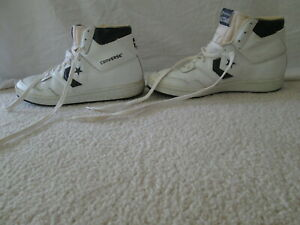 Details about Vintage 80s Converse High Tops Size 9 Shoes Sneakers White Black