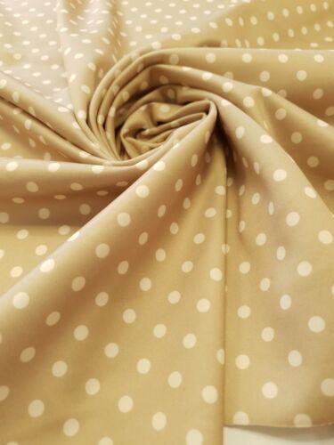 4 Metres Stone /& White Polka Dot Print Plain Scuba Fabric