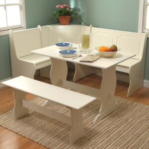 eBay & Details about Nook Corner Dining Set Kitchen Table Bench White 3 Pieces Breakfast Set Booth