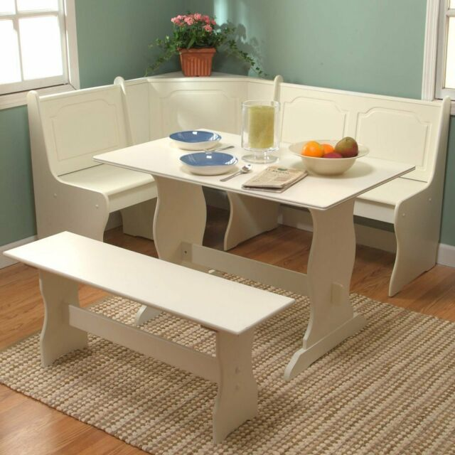 Nook Corner Dining Set Kitchen Table Bench White 3 Pieces